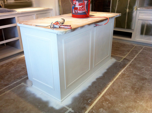 Before White Painted Kitchen Island With Wood Top Over Easy Kitchens