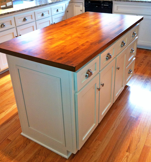 wood top for kitchen island White Painted Kitchen Island With Wood Top Over Easy Kitchens